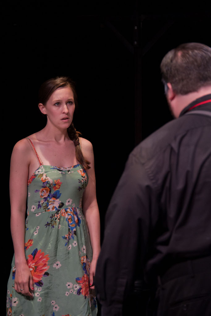 Opheia (Kristin Rogers) and Polonius (Jay Tilley)