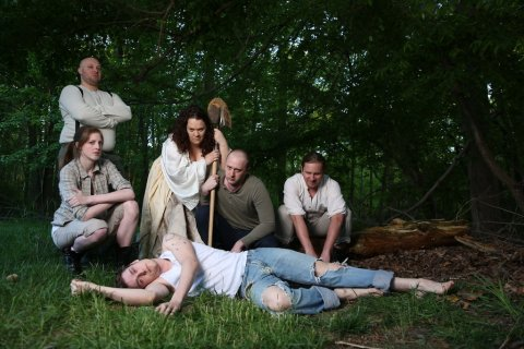 Carl Brandt Long, Shaina Higgins, Sara Bickler, Matthew Ward, John Stange, Christopher Niebling. Photo by Johnny Shryock.